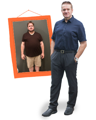 Warren Reilly before and after on 1:1 Diet