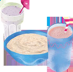 Blueberry and strawberry shake, bowl of porridge